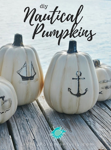 Nautical Theme Stencil Black and White Pumpkin Idea