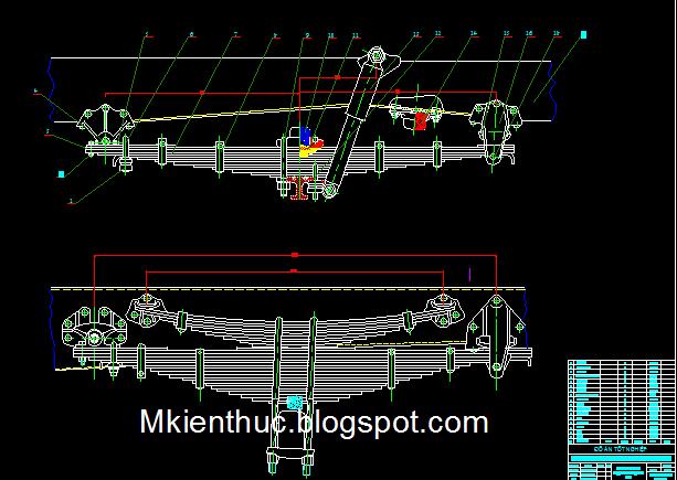 Bản vẽ hệ thống treo xe tải