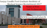 Sanjay Gandhi Post Graduate Institute of Medical Sciences Recruitment 2017- Lab Technician