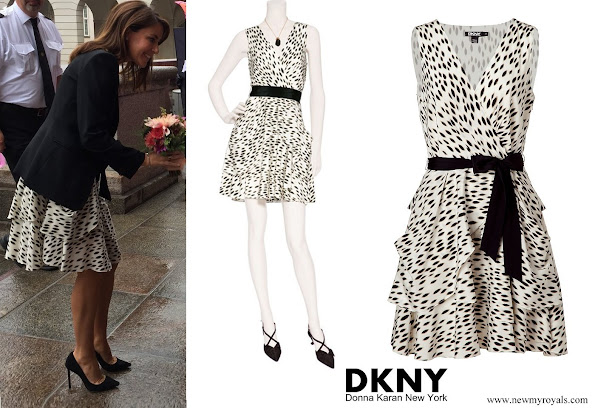 Princess Marie wore Dkny Donna Karan belted silk dress