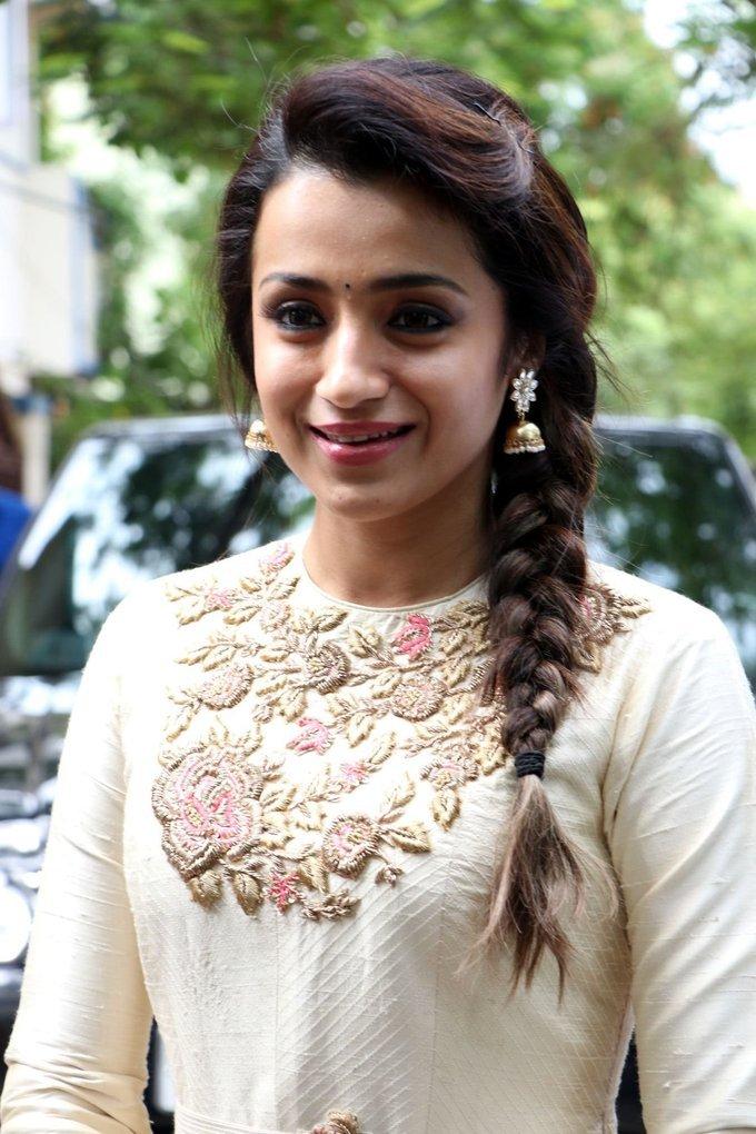 Trisha Krishnan New Tamil Film Launch Photos In White Dress