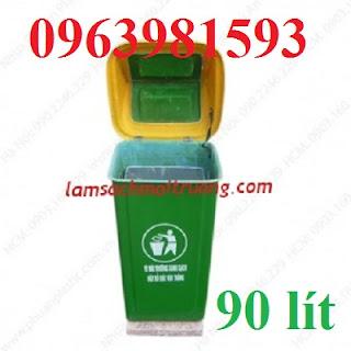 Thùng rác 90 lít, thùng rác công nghiệp, thùng rác công cộng giá rẻ