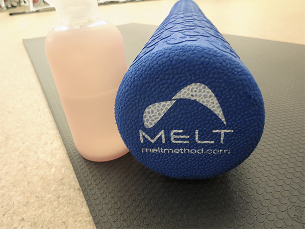Blue foam roller used at Dailey Method studio in Kitsilano, Vancouver, for the pain-relieving MELT classes
