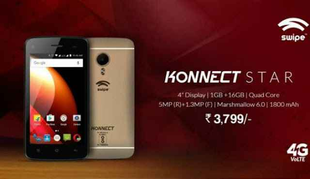 Swipe Konnect Star With 4G Volte At Just Rs.3,799