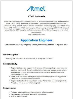 Lowongan kerja resmi Atmel Indonesia