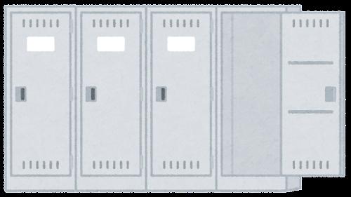 グレーのロッカーのイラスト(セット)(開いた状態)