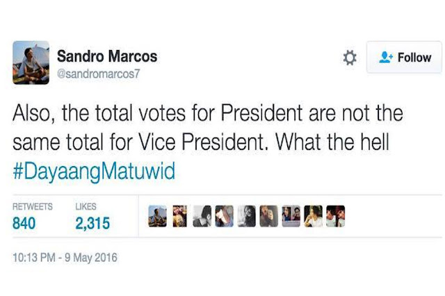 Sandro Marcos accuses the administration of allegedly cheating the VP results!