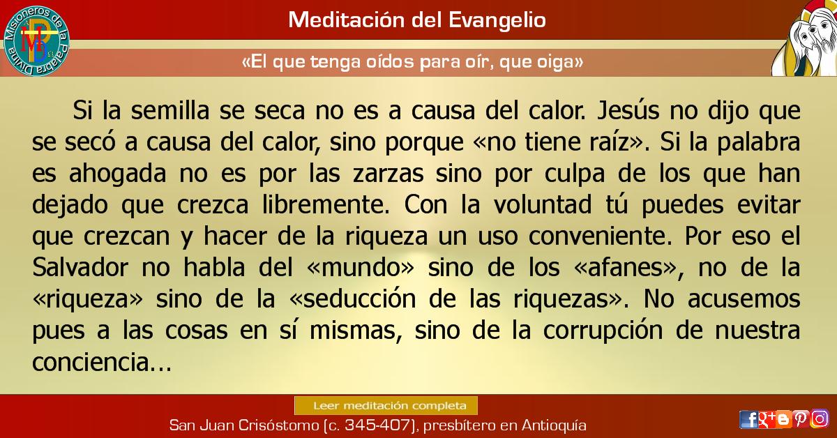 Misioneros De La Palabra Divina Meditacion Del Evangelio El Que