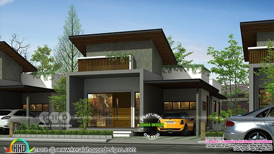 Unique contemporary style sober color house rendering