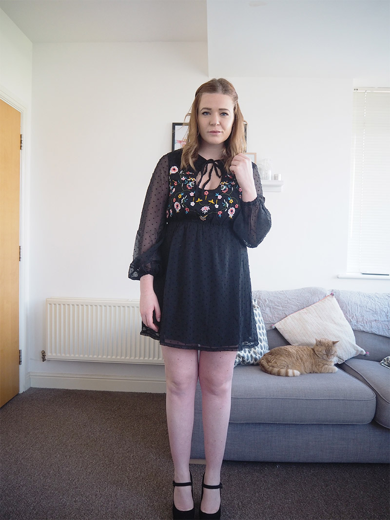 boohoo embroidered black skater dress outfit post