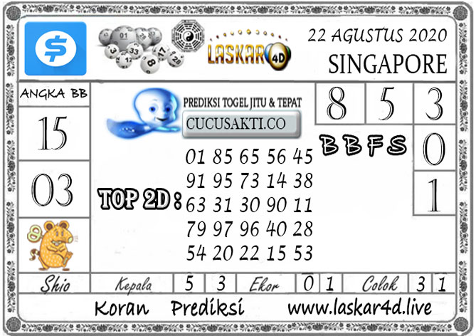 Prediksi Togel SINGAPORE LASKAR4D 22 AGUSTUS 2020