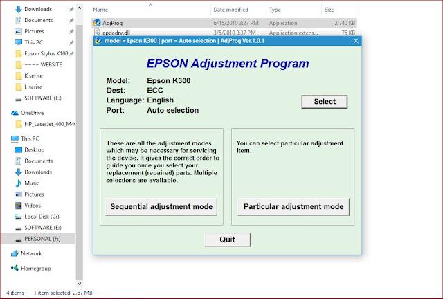 Epson K300 resetter