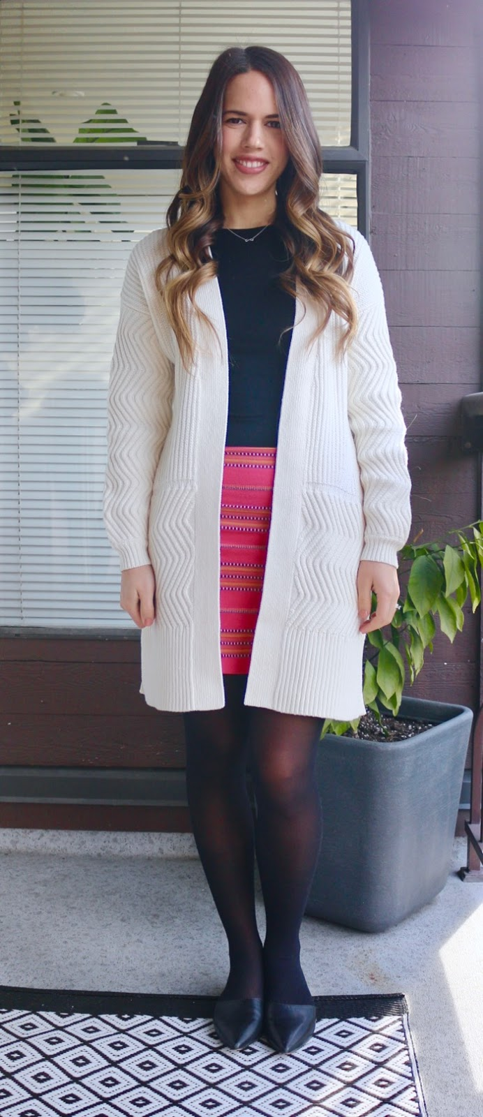 Jules in Flats - Open Front Sweater with Mini Skirt for Work