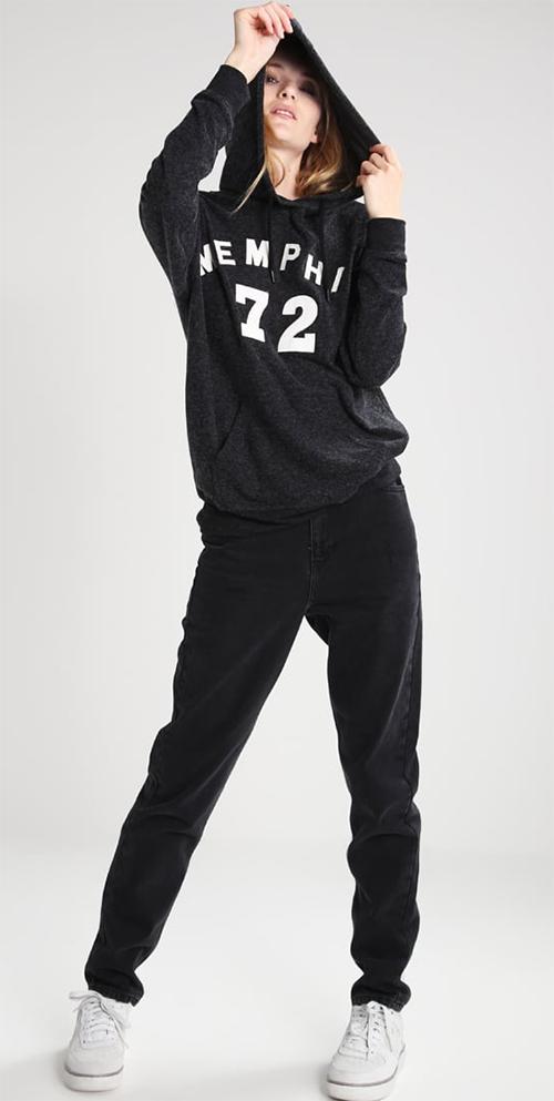 Sweat shirt femme capuche gris chiné Topshop