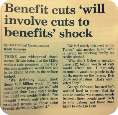 Benefit cuts 'will involve cuts to benefits' shock headline