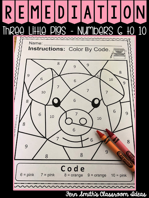 Color By Number For Math Remediation Numbers 6 to 10 with The Three Little Pigs