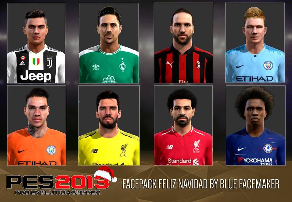 PES 2013 facepack feliz navidad by blue facemaker