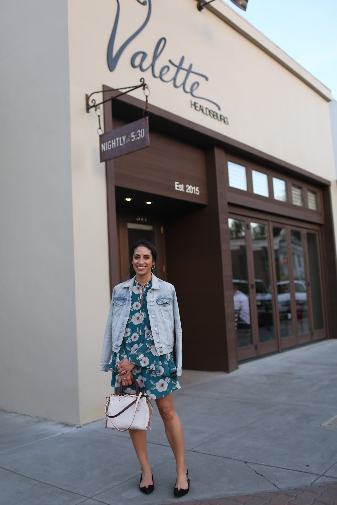 cute forever21 floral dress, bell sleeves, slingback flats, Coach Rogue bag, Valette in Healdsburg