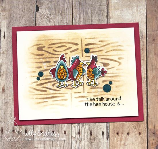 Chicken Card by Holly Endress | Cluck Stamp Set and Hardwood Stencil by Newton's Nook Designs #newtonsnook #handmade