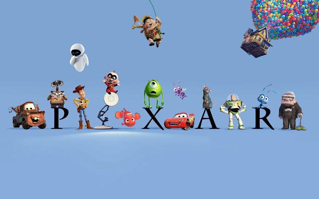 Montaje con varios de los protagonistas de las películas de Pixar con el logotipo de la compañía
