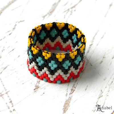 купить яркие украшения из бисера кольцо этника анабель россия