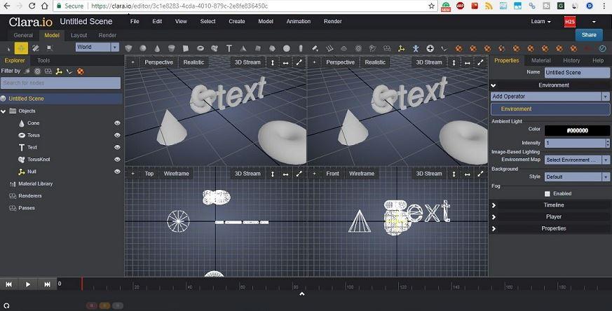 Clara.io free animation software based on cloud