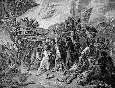 Death of Nelson from the painting by Ernest Slingeneyer from Horatio   Nelson  and the Naval Supremacy of England by W Clark (1890)