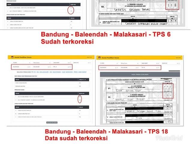 Ini Penjelasan KPU Kab. Bandung Terkait Kesalahan Entri C1 di TPS 6 dan TPS 18 di Kel. Malakasari