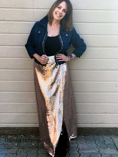 Burda 12 2015 #115 sequin maxi skirt  on Sharon Sews blog