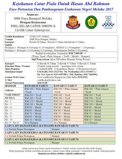 Kejohanan Catur Piala Datuk Hasan Abd Rahman – Exco Pertanian dan Pembangunan Usahawan Negeri Melaka (20 Mei 2017)