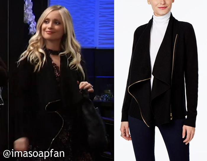 Lulu Spencer Falconeri, Emme Ryland, Draped Black Moto-Style Cardigan, INC International Concepts, GH, General Hospital