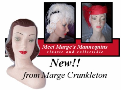 Collection of 3 mannequin heads to display fifties hats on