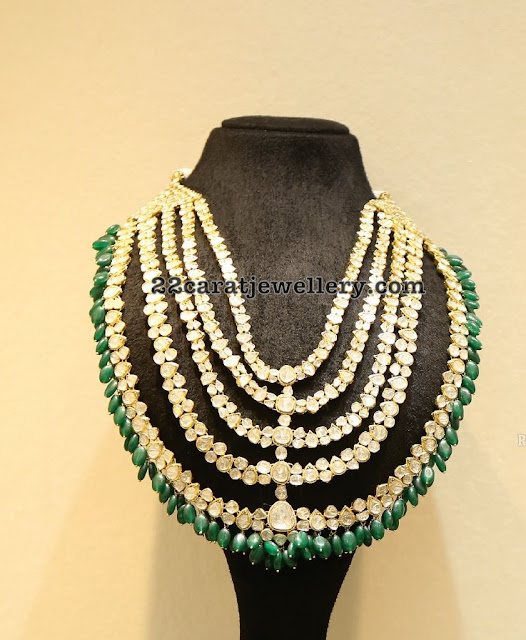 Five Layers Polki Diamond Set with Emerald Drops