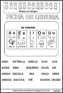 Ficha leitura vogais