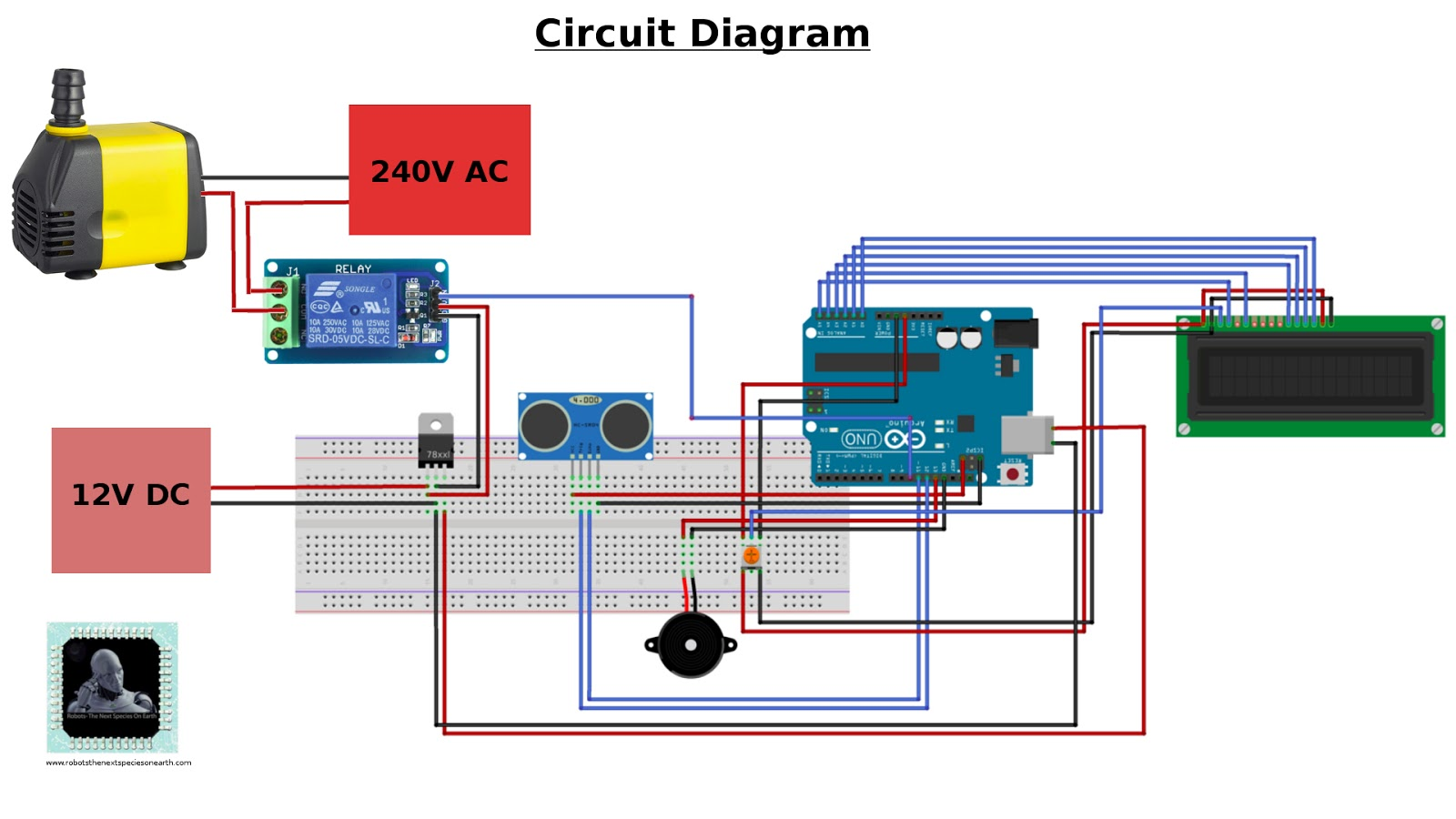 liquid level controller circuit diagram nissan hardbody wiring automatic water indicator and pump using