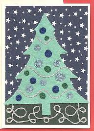 Starry night felt christmas card