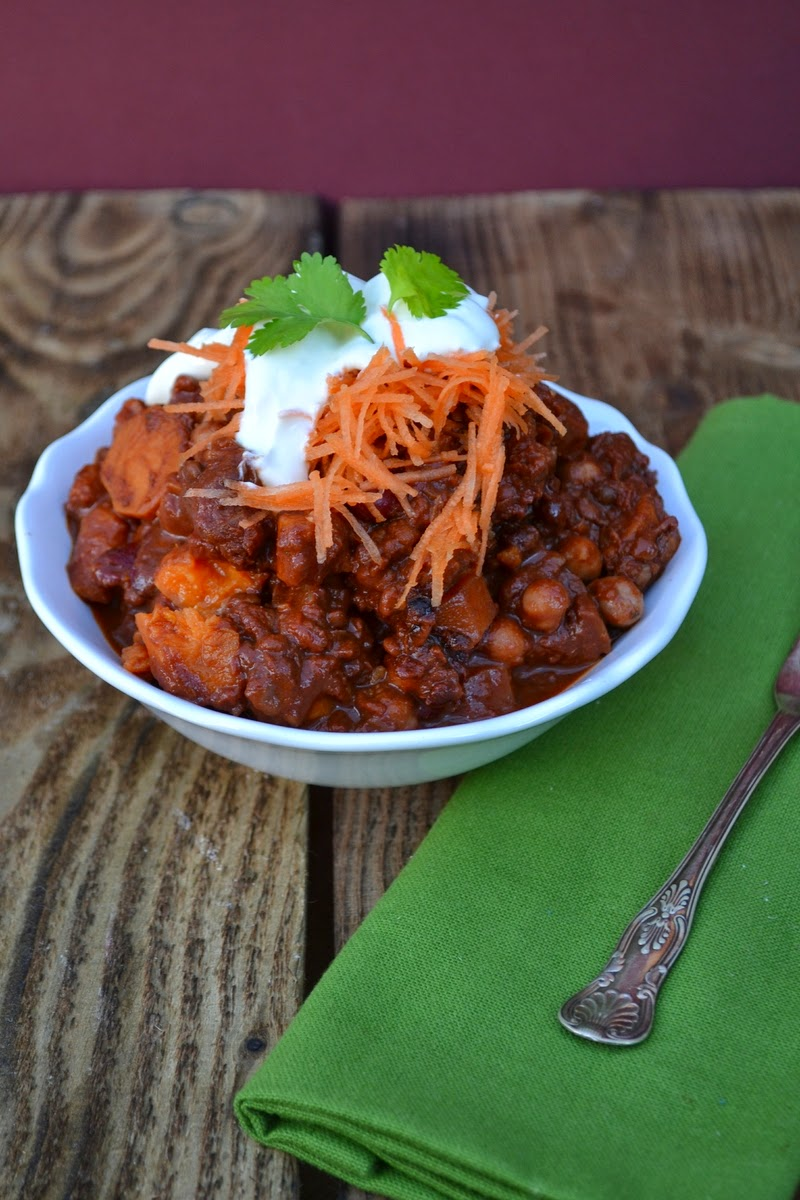 Mexican Sweet Potato and Puy Lentil Mole. Serve with rice or mashed potatoes.