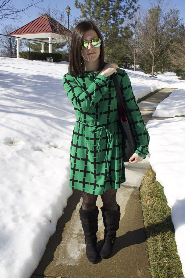 Grid print dress, Target dress, green dress, tights, winter outfit, black fur boots, Old navy boots, Old Navy tote, black tote, Forever 21 winter coat, black fur coat