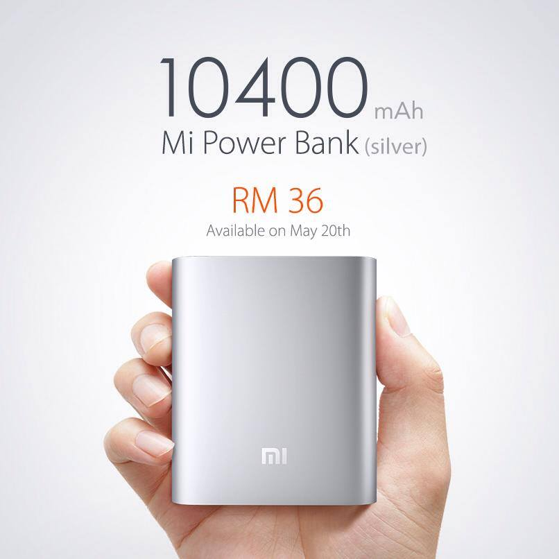 10400 mAh Mi Powerbank selling at RM36 starting 20 May in Malaysia