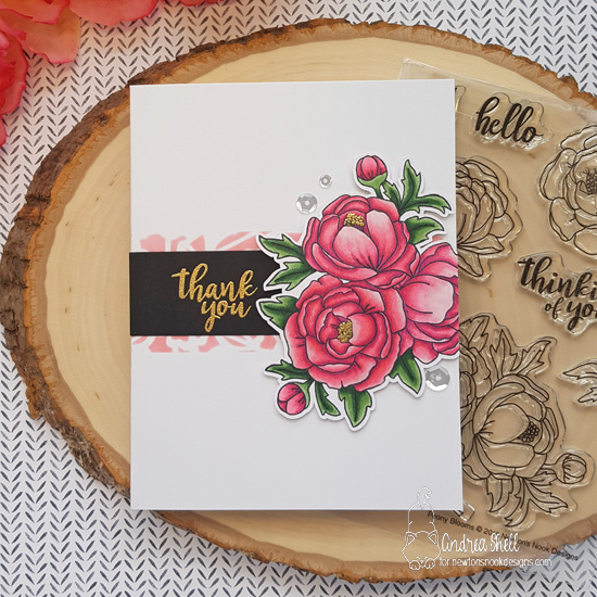 Thank you by Andrea features Peony Blooms and Floral Lace by Newton's Nook Designs; #newtonsnook