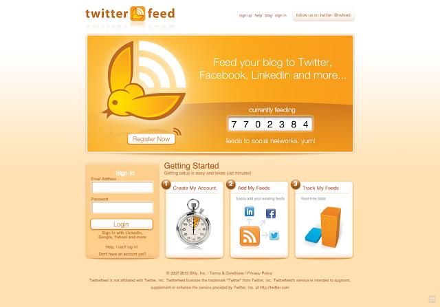 ربط موقعك بمواقع التواصل الاجتماعي  بواسطة  twitterfeed
