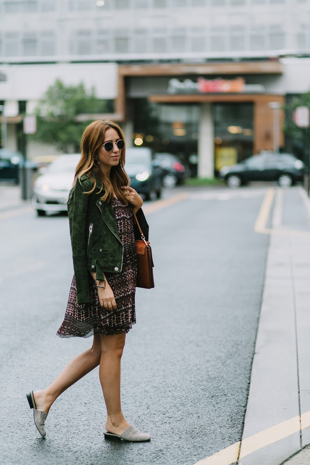 floral prints, fall, trends, 2016, blog, blogger, style, inspiration, outfit, moto jacket, blank nyc moto jacket, suede jacket, floral dress, best mules, best slides, comfortable shoes, fall fashion, layering, layered look