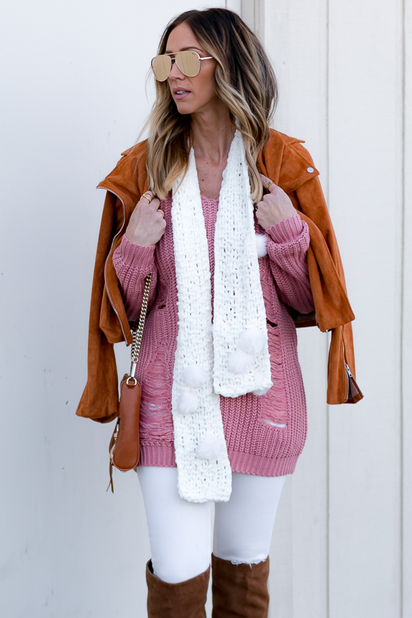 white pom pom knit scarf