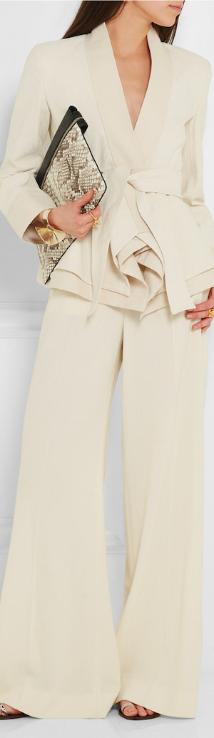 DONNA KARAN NEW YORK Belted Stretch Cotton-Blend Canvas Jacket