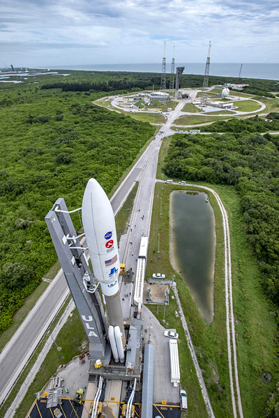 The Atlas V rocket carrying the Mars 2020 spacecraft rolls out from the Vertical Integration Facility (VIF) to the pad at Cape Canaveral Air Force Station's Space Launch Complex (SLC)-41 in Florida...on July 28, 2020.