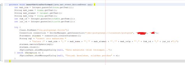 Kelas Informatika - Source Code Insert Action Performed