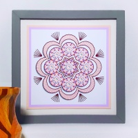 Embroidery on card geometric flower print, prick and stitch pattern