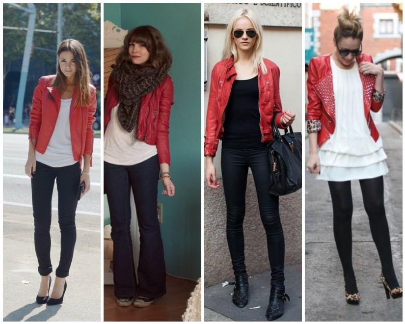 what to wear with red leather jacket