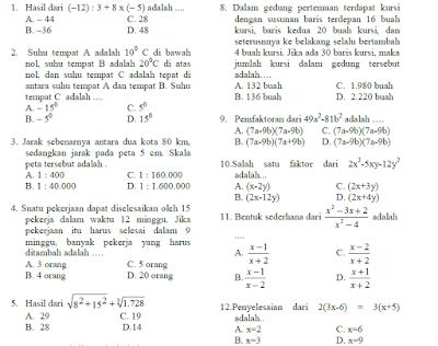 Pada kesempatan kali ini akan kami bagikan contoh latihan  3 Soal Ujian Sekolah/ US Matematika SMP / MTs