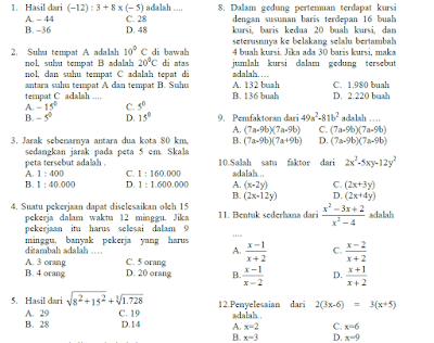 soal us smp matematika